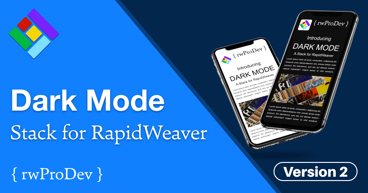 Dark Mode Version 2 Stack for RapidWeaver