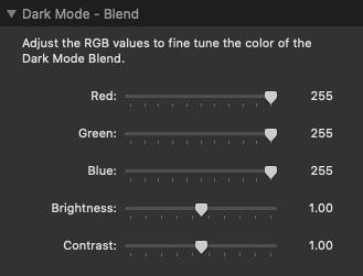 Dark Mode blend settings
